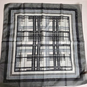 Vintage Black And White Polyester Scarf